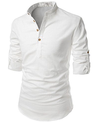 TheLees (NKN350) Transform Roll-Up Sleeve Mandarin Henley Neck Linen Shirts WHITE US L(Tag size L)
