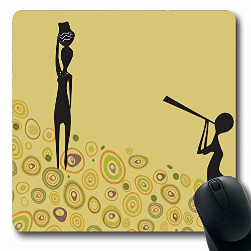 Ahawoso Mousepad Oblong 7.9x9.8 Inches Africa Dance African Couple On Love Date Vuvuzela Tribal Clip Singer Abstract Activity Design Office Computer Laptop Notebook Mouse Pad,Non-Slip Rubber]()