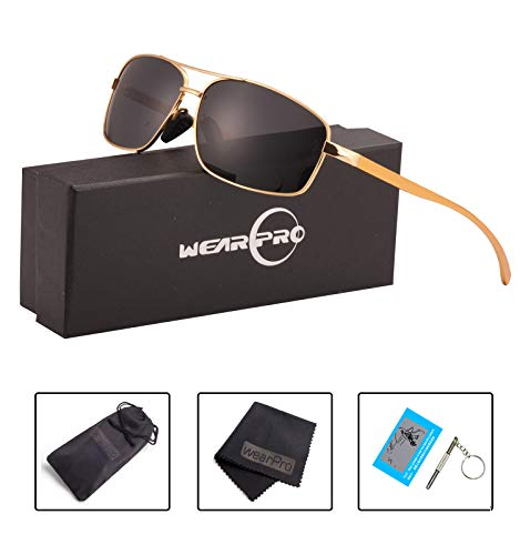 Sport Polarized Sunglasses For Men-wearPro Ultralight Rectangular Sunglasses Driving Fishing 100% UV Protection WP9006 (black/gold, 2.45)