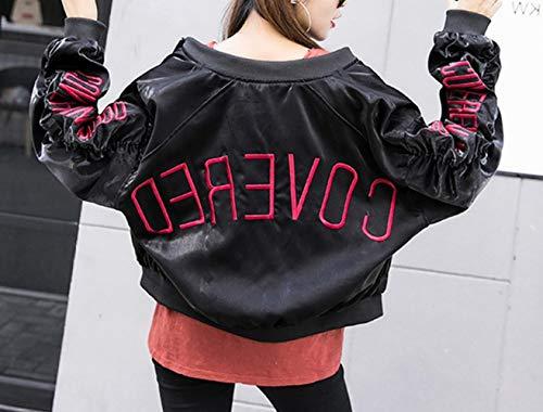 Automne Fashion BF Veste brode Veste S Trend DEED et Tops de Loose Femmes Wind Student Printemps Baseball Noir Street OSn0wnE
