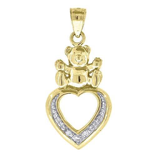 10kt Gold CZ Polished Baby Teddy Bear Ht:28.6mm x W:14.4mm Heart Charm Pendant 10kt Baby Box