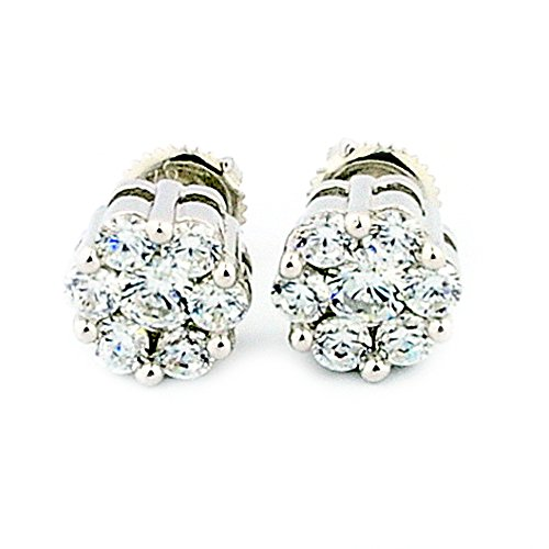 8mm Wide Cluster Earrings Screw Back Sterling Silver Round CZ 4ctw Size