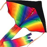 Gran Rainbow Delta Kite: fácil de montar, lanzar, volar - Calidad superior, excelente para el uso en la playa - La mejor cometa para todos: niñas, niños, niños, adultos, principiantes y profesionales: por Impresa