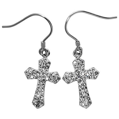 Sterling Earrings Cross - YACQ 925 Sterling Silver Crystal Cross Dangle Earrings for Women