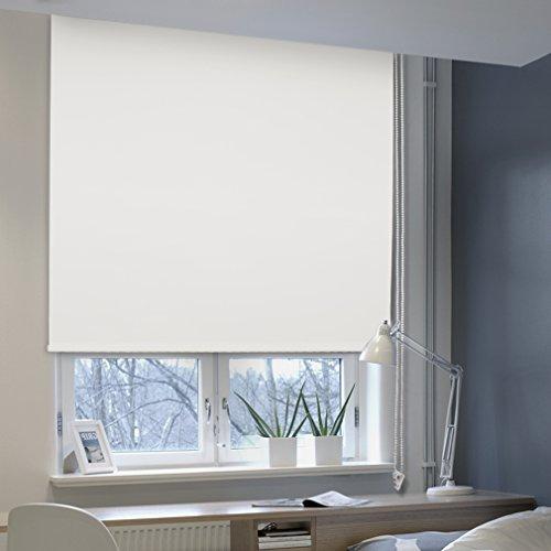Auralum® Thermo-Rollo Thermorollo Verdunkelung mit Klemmträgern Klemmfix ohne Bohren Seitenzug für Fenster 120x175 cm , Weiß