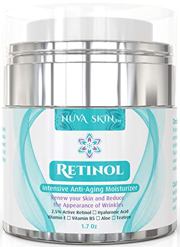 41cXrvNfNcL - Nuva Skin Retinol Cream Moisturizer for Face and Eye Area - With Retinol, Hyaluronic Acid & Vitamin E - Anti Aging Treatment Reduces Wrinkles & Fine Lines - Gentle Day and Night Serum, 1.7 Fl Oz