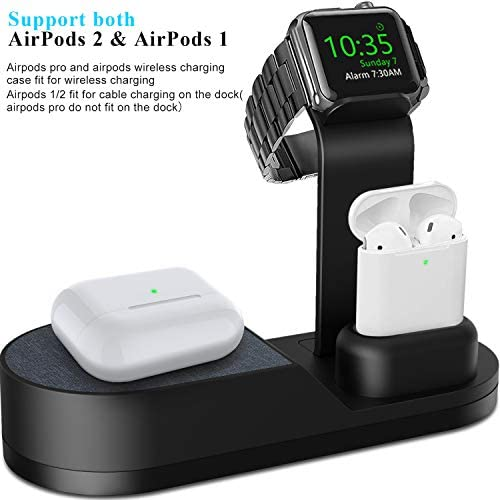 Deszon Wireless Charger Designed for Apple Watch Stand Compatible with Apple Watch Series 5 4 3 2 1, AirPods Pro Airpods and iPhone 11 11 pro 11 Pro Max Xs X Max XR X 8 8Plus (No Adapter) Black