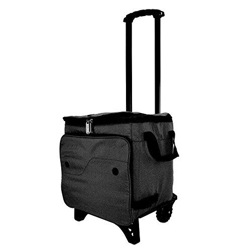 (DALIX Rolling Cooler Thermal Insulated Trolley Bag Sports Leak Proof in Black)