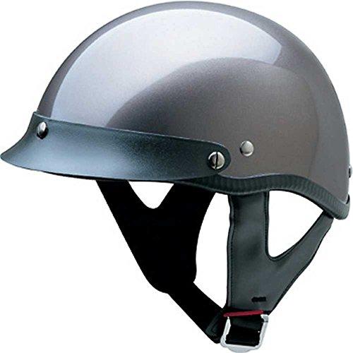 HCI Gloss Deep Silver Motorcycle Half Helmet w/ Visor - ABS Shell 100-112 (Med)