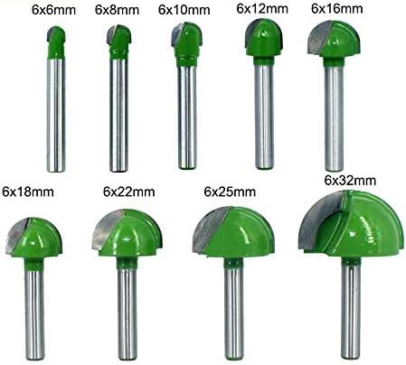 WNJ-Tool Taille : 6X32mm 1 pc 6mm Tige Boule Nez Fin Fraise Ronde Nez Cove CNC Fraise Bit Rayon Core Bo/îte Carbure Solide Routeur Bit Outils