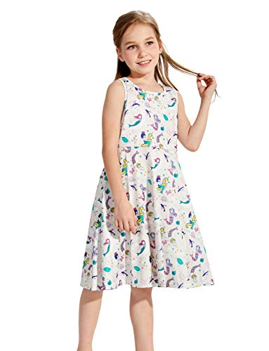 Girls Dresses White Mermaid 8t 9t Kawaii Ivory Fish Animal Zoo Floral Print Nice Ruffle Twirling Overalls Dress Belle Princess Formal Maxi Midi Tshirt Skirt Daily Shcool Home Casual Partywear Size 8 (Cat Girl Costume)