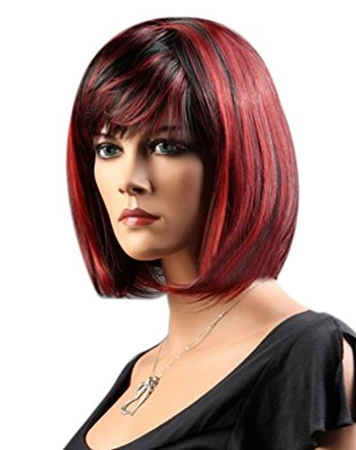 Kalyss Women's Synthetic Mix Black and Wine Red Short Bob Wig with Hair Bangs Cosplay Costume Wig for Women