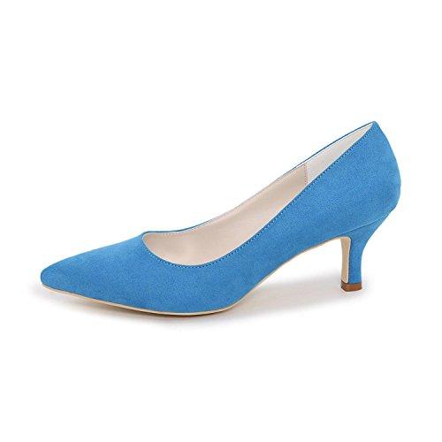 L@YC Damen High Wedding Schuhe Fersen / Plattform Heels Hochzeit / Hochzeit Spitze Tanz mehr verfügbar Farben Blue