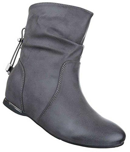 Damen Stiefeletten Schuhe Keil Wedges Boots Used Optik Schwarz Grau