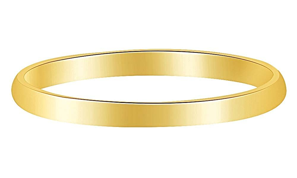 Wishrocks 10K Solid Gold 2MM Mens /& Womens Anniversary /& Wedding Band Ring
