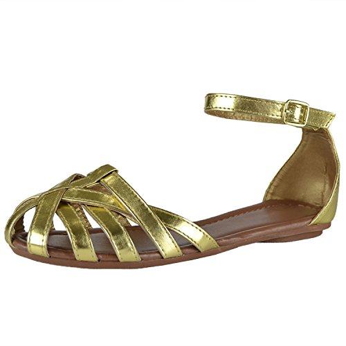 Sandalias Planas Para Mujer Capas De Tiras Zapatos Casuales Oro Dorado