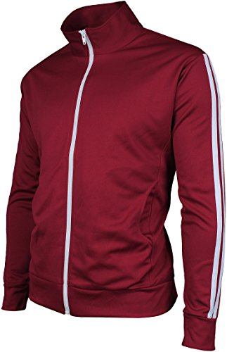 Stripe Warm Up Jacket - Angel Cola Men's Retro Stripes Full Zip-up Track Top Jacket Burgundy L