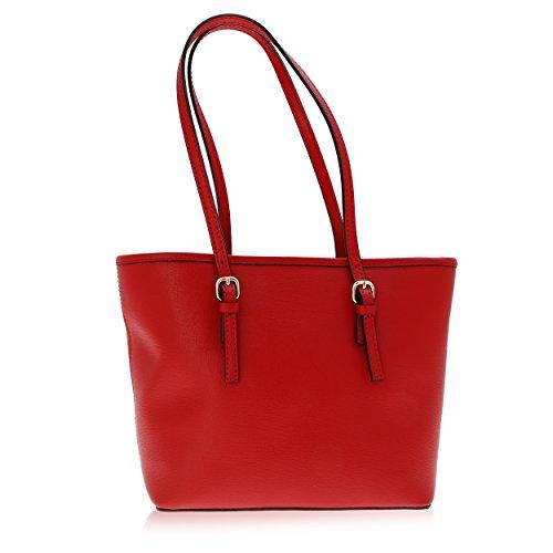 Cuir Rouge Véritable Florence pour 23 épaule Made Porté in cm Sac Femme 12 34 Aw0qSO
