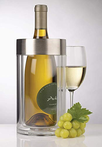 Acrylic Iceless Wine Bottle Chiller - Double Wall Wine Cooler Bucket with Stainless Steel Rim for Wine and Champagne Bottle