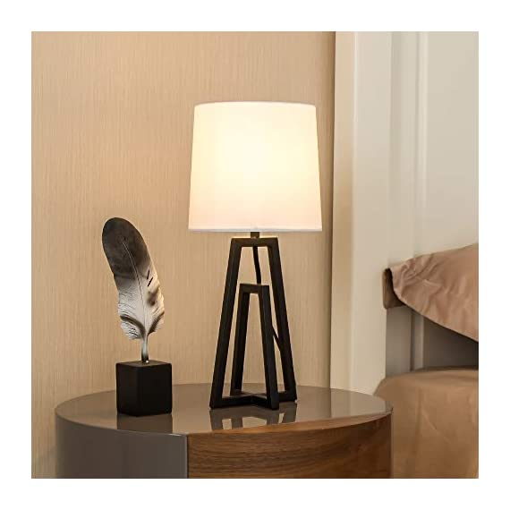 """POPILION Cozy Minimalist White TC Fabric Lamp Shades Bedroom Living Room Table Lamp, Simple Modern Bedside Desk Lamp with Hollowed Black Metal Base - 1.The size of the lamp:(Diameter7.09""""*Hight15.35"""").Using E26 bulb.The bulb is not included. 2.Modern and minimalist design black steel base can elevate the aesthetics of your home.When you light the lamp up,the white TC fabric lampshade can reduce the hard light and protect your eyes.It means that it provides a soft light for sleeping and creats a cozy feeling for home. 3.Safety Choice:This minimalist style lamp is easy to install and has passed authentication of UL safety system of European Union.You don't have to worry about the quality and the safety problem. - lamps, bedroom-decor, bedroom - 41cXtrEBlpL. SS570  -"""