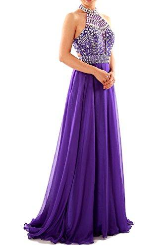 MACloth Women Halter High Neck Sleeveless Long Prom Party Dress Evening Gown (52, Morado)