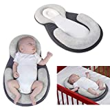 Baby Sleep Aid, Portable Baby Sleeping Pad with Nursing Pillows Infant Lounger Crib Bassinet Mattress Anti-Roll for Newborn Baby and Infant Age 0-12 Months (Grey)