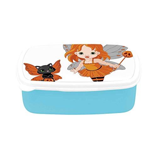 Halloween Simple Plastic Lunch Containers,Halloween Baby Fairy and Her Cat in Costumes Butterflies Girls Kids Room Decor Decorative for home,7.09