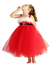 EGELEXY Princess Dress Lovely Girls Long Red Christmas Dresses Baby Girl Tulle Lace