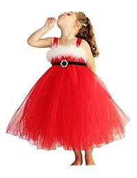SUPEYA Princess Kids Girls Christmas Lace Dresses Sleeveless Backless Tutu Dress