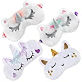 Onshine Unicorn Sleeping Mask 4Pack Soft Plush Blindfold Cute Unicorn Horn Sleep Mask Eye Mask for Girls Women Kids