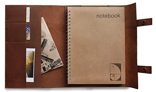 Le Vent Large Refillable Leather Journal Portfolio, A4 8x11 Inches, Spiral Dot Grid Notebook 200 Pages, Vintage Matte Brown Folder for Business and -