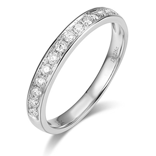 Hafeez Center 14K Solid Gold Micro Pave Round Diamond Dainty Eternity Wedding Band Ring for Women and Girls (White-Gold, 9) (Wedding Band Diamond Round)