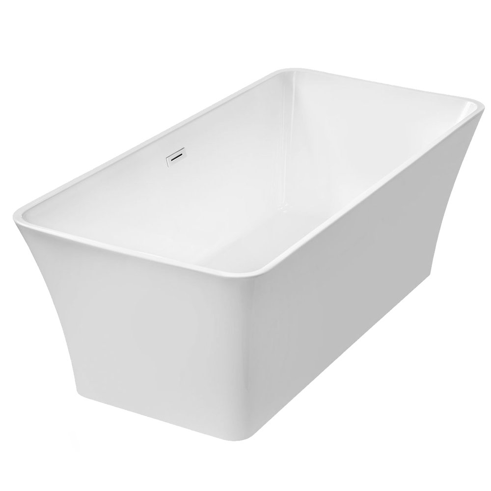 WoodBridge 67'' Modern Freestanding Bathtub with Brushed Nickel Overflow & Drain, B-0004 by Woodbridge