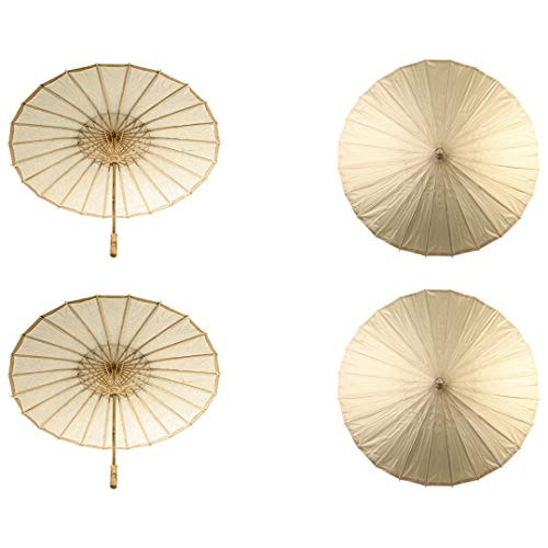 Koyal Wholesale 32-Inch Paper Parasol, 4-Pack Umbrella for Wedding, Bridesmaids, Party Favors, Summer Sun Shade (4, Gold)