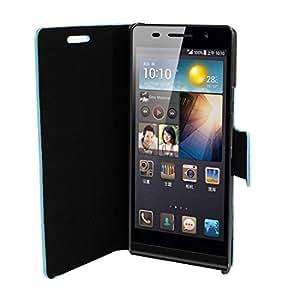 Imitación de cuero azul de los lunares del soporte del tirón bolsa del caso para Huawei P6