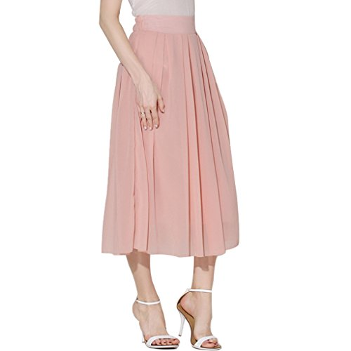 ShyVelvet Women's Chiffon Long Skirt Elastic-Waist Pleated Skirt