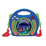 Lexibook PJ Masks Catboy CD player for kids with 2 toy microphones, headphones jack, with batteries, blue, RCDK100PJM