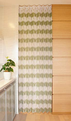 アコーディオン カーテン 間仕切り のれん 目隠し 遮熱 冷気遮断 ミッキー 150×250 (グリーン)