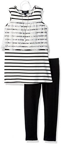 Tunic Top Set - Amy Byer Big Girls' Sleeveless Tunic and Legging Outfit Set, Black Stripe, XL