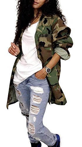 (LETSVDO Women's Military Camo Print Lightweight Open Front Outwear Coat Camouflage Overcoat Safari Jacket Club Dress)