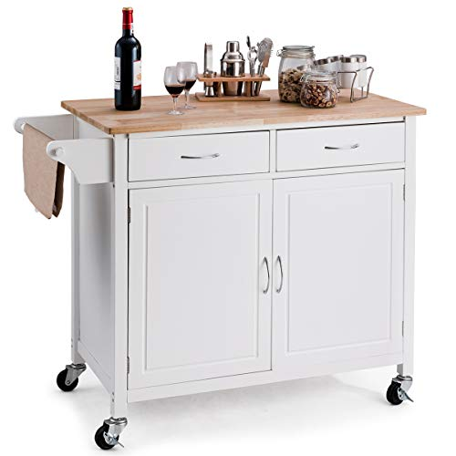 Giantex Portable Kitchen Rolling Island Cart Wood Table Top Island Serving Utility Kitchen Storage Trolley Carts W/Cabinet &Drawer - Lakeland Kitchen