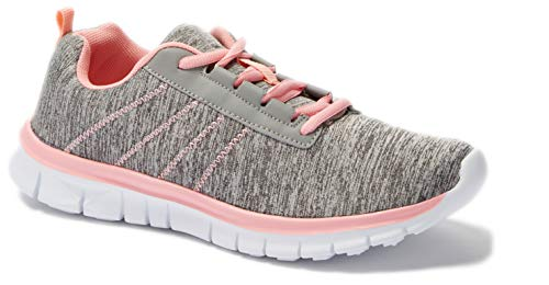 - Womens Sneakers Athletic Knit Mesh Running Light Weight Go Easy Walking Casual Comfort Running Shoes 2.0 (9, Grey/Pink F9211)