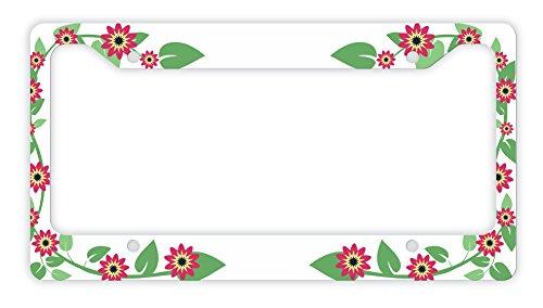 ThisWear Flower License Plate Frame Red Flower Gifts Women Floral Novelty License Plate Frame White (Flower Plates License)