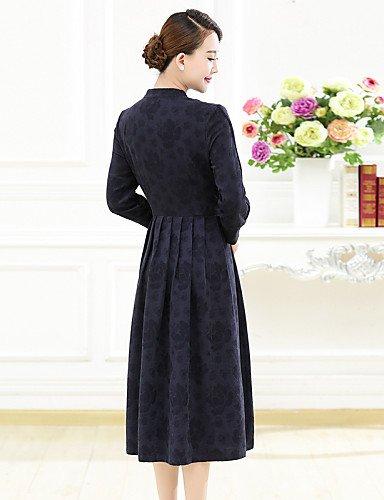 PU&PU Robe Aux femmes Grandes Tailles Grandes Tailles / Décontracté , Couleur Pleine Mao Midi Coton / Lin , red-2xl , red-2xl