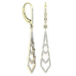 Gold Round Diamond Kite Shape Dangling Earrings