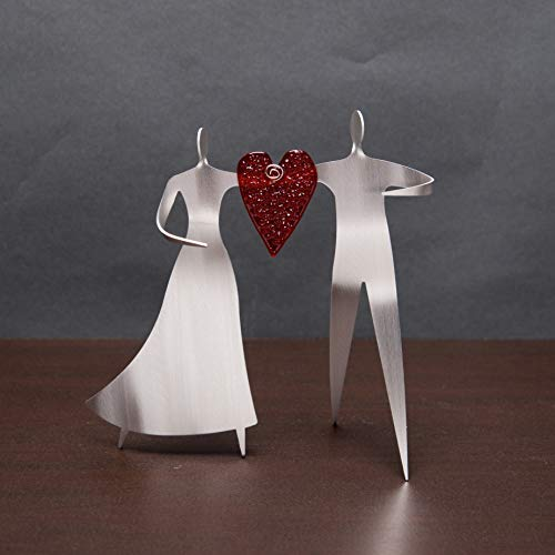 (Dancing Couple with fused glass Aluminum Sculpture by Sondra Gerber American Handmade)