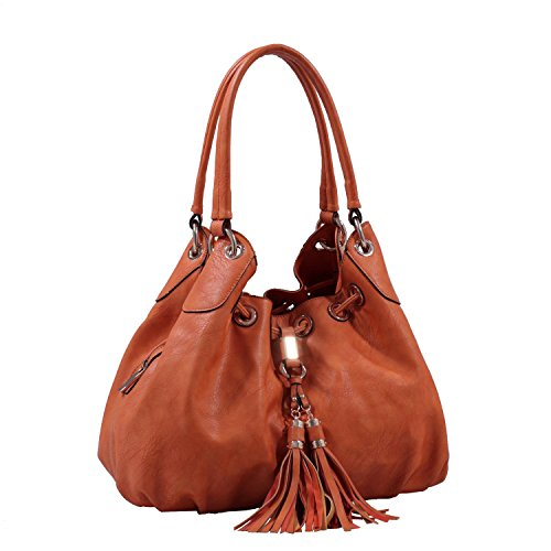 - Concettina Faux Leather Hobo Style Shoulder Hand Bag with Drawstring Tassel - Brown
