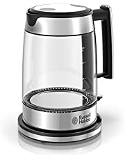 Russell Hobbs Electric Kettle, Glass and Stainless Steel Design with Blue Light, 1.7L, KE7900BKRC