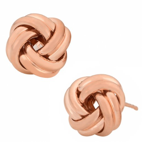 10k Rose Gold Polished Love Knot Earrings (12 mm) (Love Polished Knot)