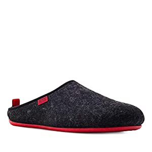 Andres Machado Unisex Black Felt & Wool Slippers, with Red Outsole, Size UK 6.5 / EU 40